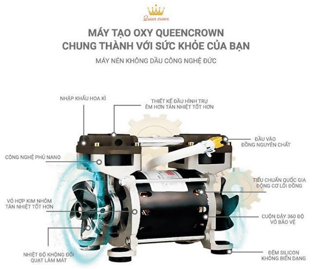 Máy tạo oxy Queen Crown QC KE-Y202 trang bị máy nén không dầu cao cấp