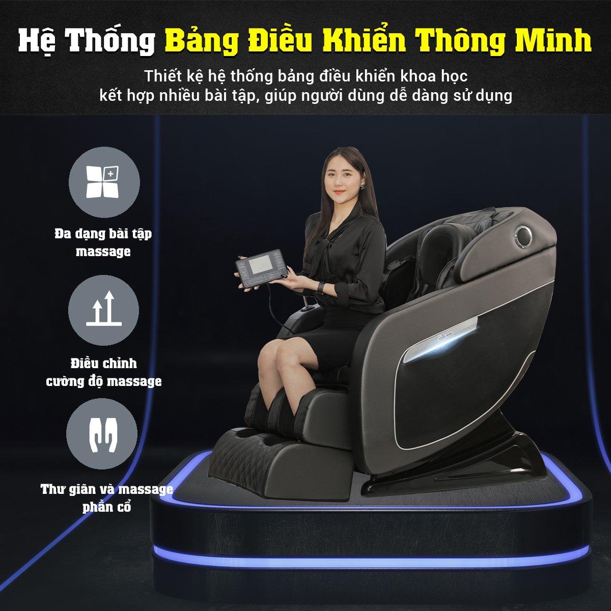 Ghế massage Queen Crown Dr. Tokyo 8 thiết kế bảng điều khiển cảm ứng màn hình LCD