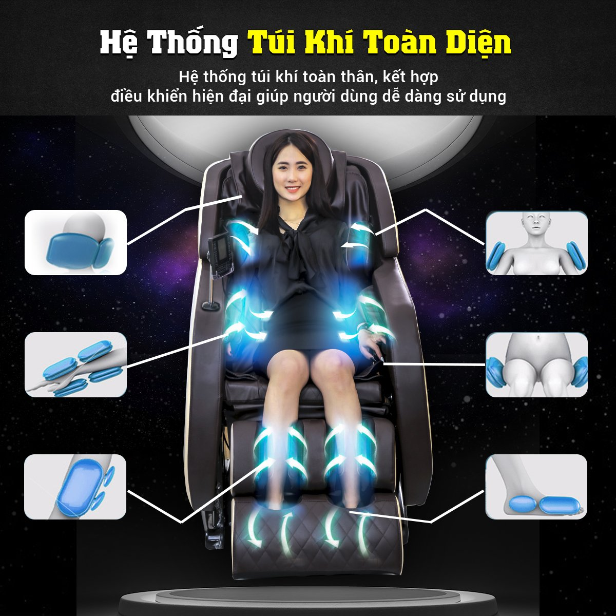 Ghế massage Queen Crown Dr. Tokyo 8 nâng cấp hệ túi khí đa chiều toàn diện