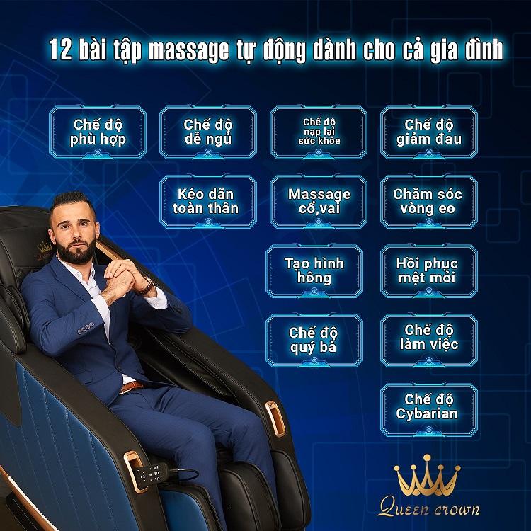 Ghế massage Queen Crown Fantasy X6 thích ứng12 bài tập massage tự động cho cả gia đình