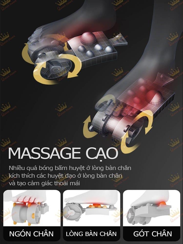 Queen Crown QC CX8 trang bị cụm massage chân cạo hoàn toàn mới