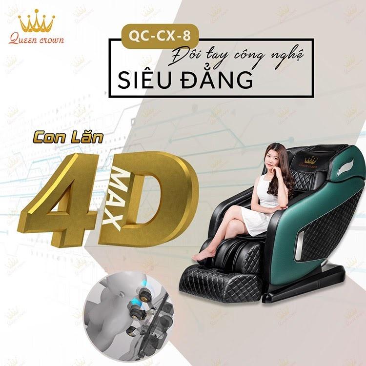 Queen Crown QC CX8 trang bị rô bốt massage 4D hiện đại