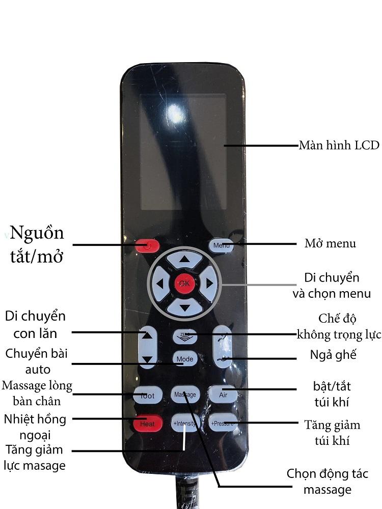 Bảng điều khiển của ghế massage Queen Crown QC CX8 khá đơn giản, dễ sử dụng