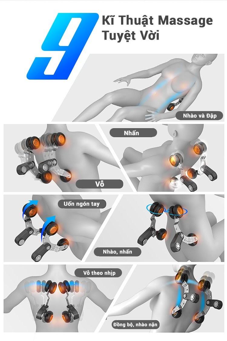 9 kỹ thuật massage của model Queen Crown Smart A8